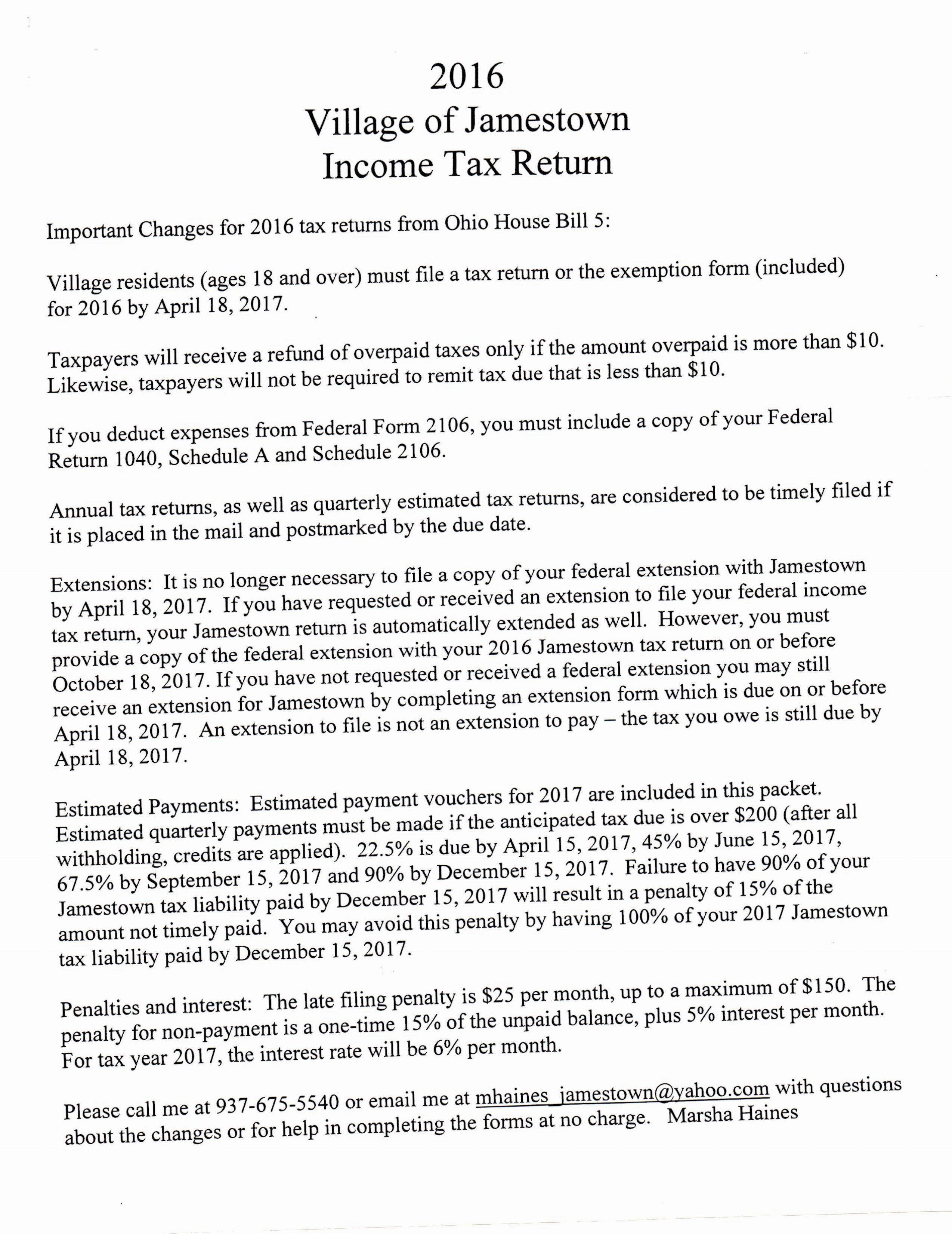 Tax Forms The Village Of Jamestown