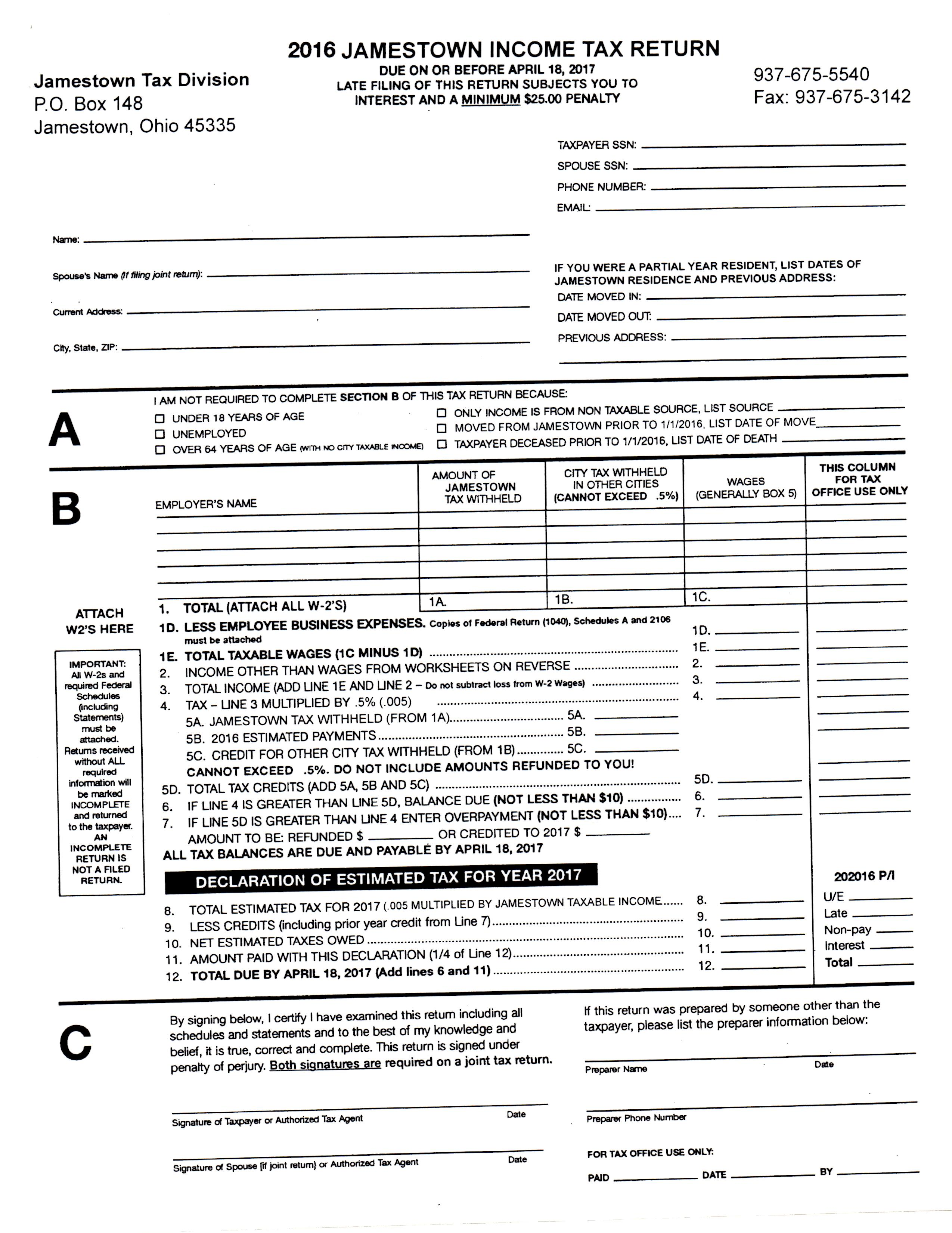 Tax forms the village of jamestown jamestown income tax form falaconquin